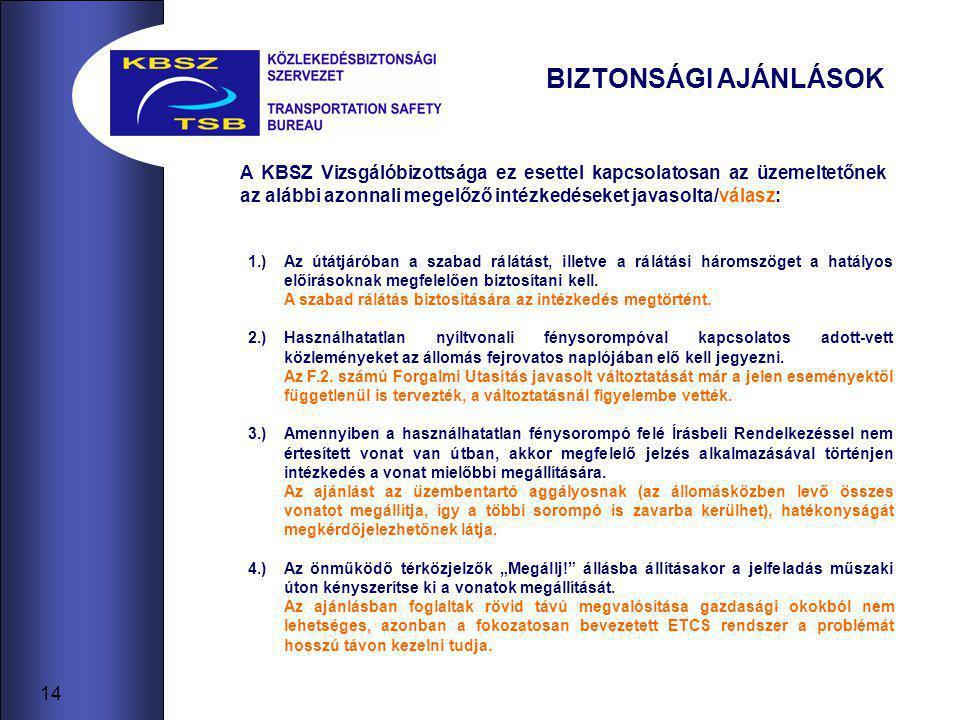 14 BIZTONSÁGI AJÁNLÁSOK 1.)Az útátjáróban a szabad rálátást, illetve a rálátási háromszöget a hatályos előírásoknak megfelelően biztosítani kell.