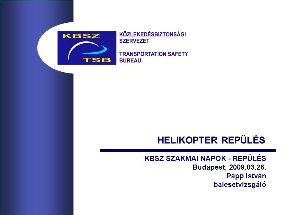 KBSZ SZAKMAI NAPOK - REPÜLÉS Budapest, 2009.03.26. Papp István balesetvizsgáló HELIKOPTER REPÜLÉS