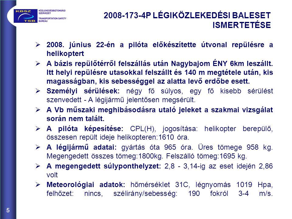 2008-173-4P LÉGIKÖZLEKEDÉSI BALESET ISMERTETÉSE 5  2008. június 22-én a pilóta előkészítette útvonal repülésre a helikoptert  A bázis repülőtérről f
