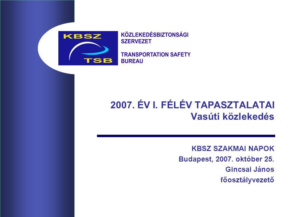 2007. ÉV I. FÉLÉV TAPASZTALATAI Vasúti közlekedés KBSZ SZAKMAI NAPOK Budapest, 2007.