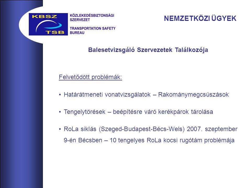 NEMZETKÖZI ÜGYEK Balesetvizsgáló Szervezetek Találkozója Felvetődött problémák: Határátmeneti vonatvizsgálatok – Rakománymegcsúszások Tengelytörések – beépítésre váró kerékpárok tárolása RoLa siklás (Szeged-Budapest-Bécs-Wels) 2007.