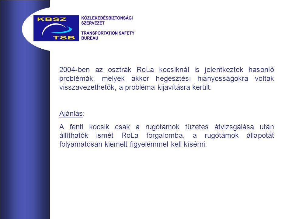 2004-ben az osztrák RoLa kocsiknál is jelentkeztek hasonló problémák, melyek akkor hegesztési hiányosságokra voltak visszavezethetők, a probléma kijavításra került.