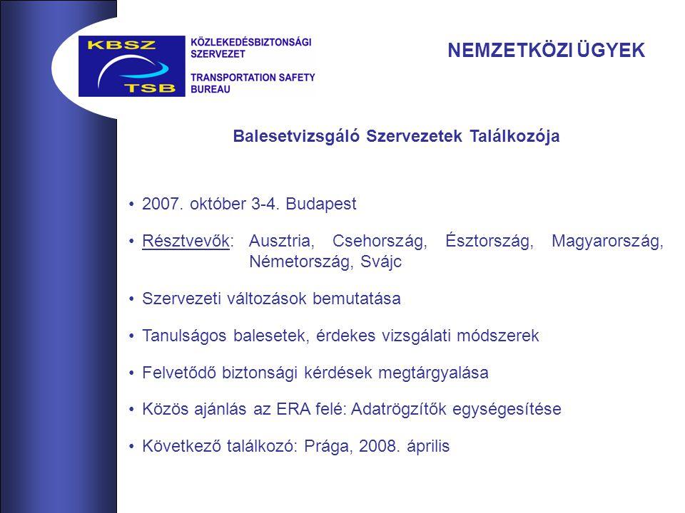 NEMZETKÖZI ÜGYEK Balesetvizsgáló Szervezetek Találkozója 2007.