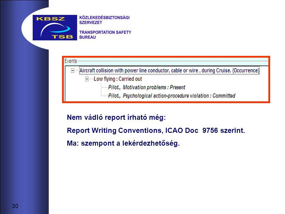 30 Nem vádló report írható még: Report Writing Conventions, ICAO Doc 9756 szerint.