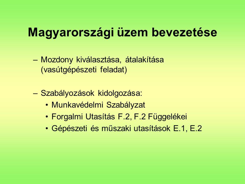Magyarországi üzem bevezetése –Mozdony kiválasztása, átalakítása (vasútgépészeti feladat) –Szabályozások kidolgozása: Munkavédelmi Szabályzat Forgalmi Utasítás F.2, F.2 Függelékei Gépészeti és műszaki utasítások E.1, E.2