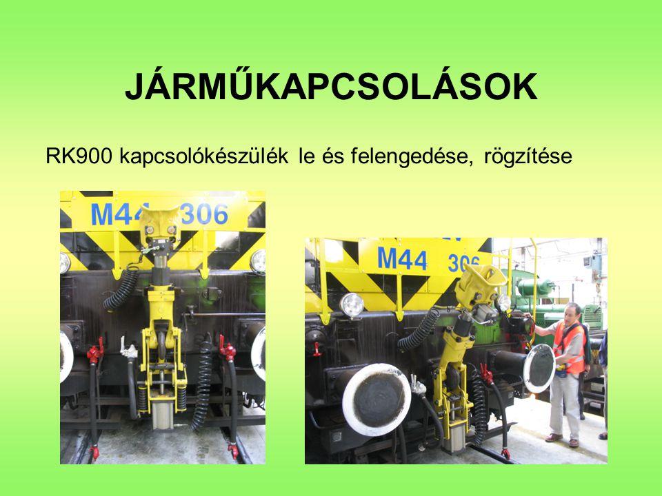 JÁRMŰKAPCSOLÁSOK RK900 kapcsolókészülék le és felengedése, rögzítése