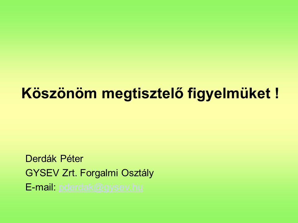 Köszönöm megtisztelő figyelmüket ! Derdák Péter GYSEV Zrt. Forgalmi Osztály E-mail: pderdak@gysev.hupderdak@gysev.hu