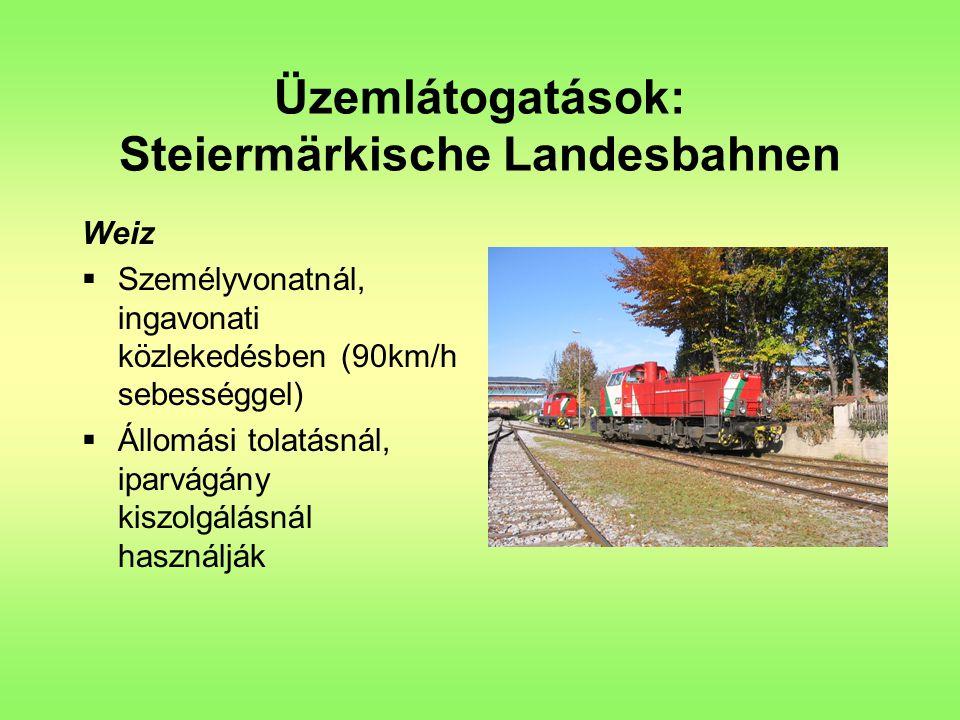 Üzemlátogatások: Steiermärkische Landesbahnen Weiz  Személyvonatnál, ingavonati közlekedésben (90km/h sebességgel)  Állomási tolatásnál, iparvágány