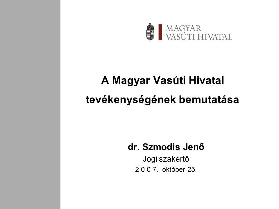 A Magyar Vasúti Hivatal tevékenységének bemutatása dr.