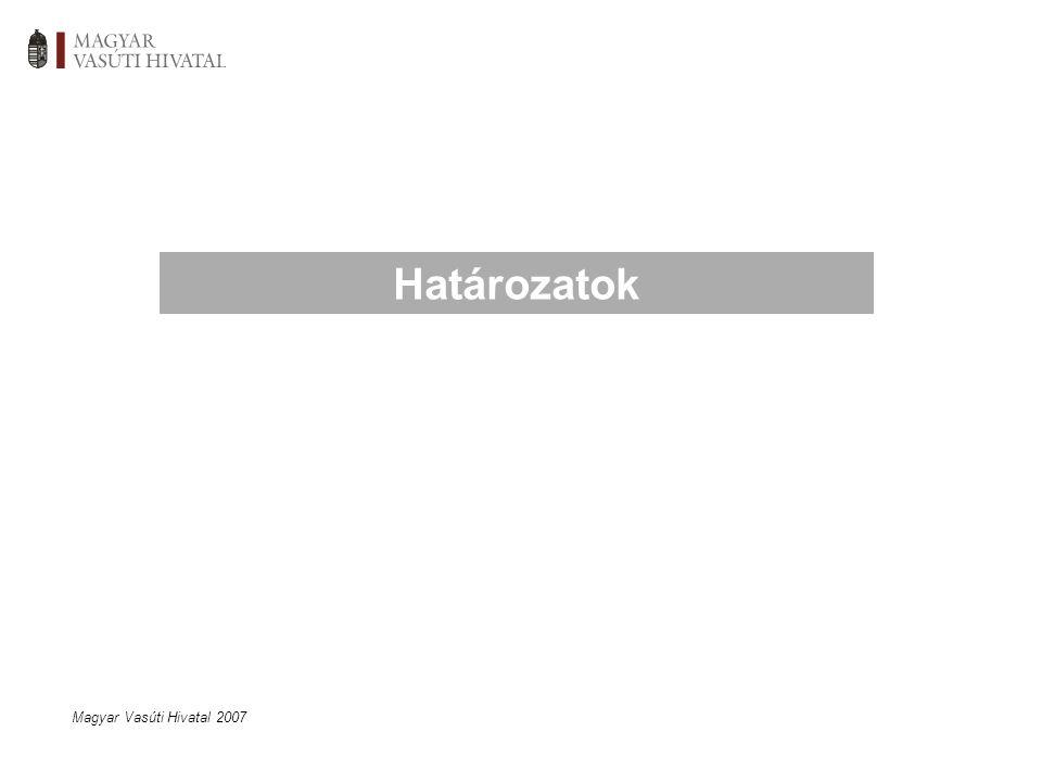 Magyar Vasúti Hivatal 2007 Határozatok