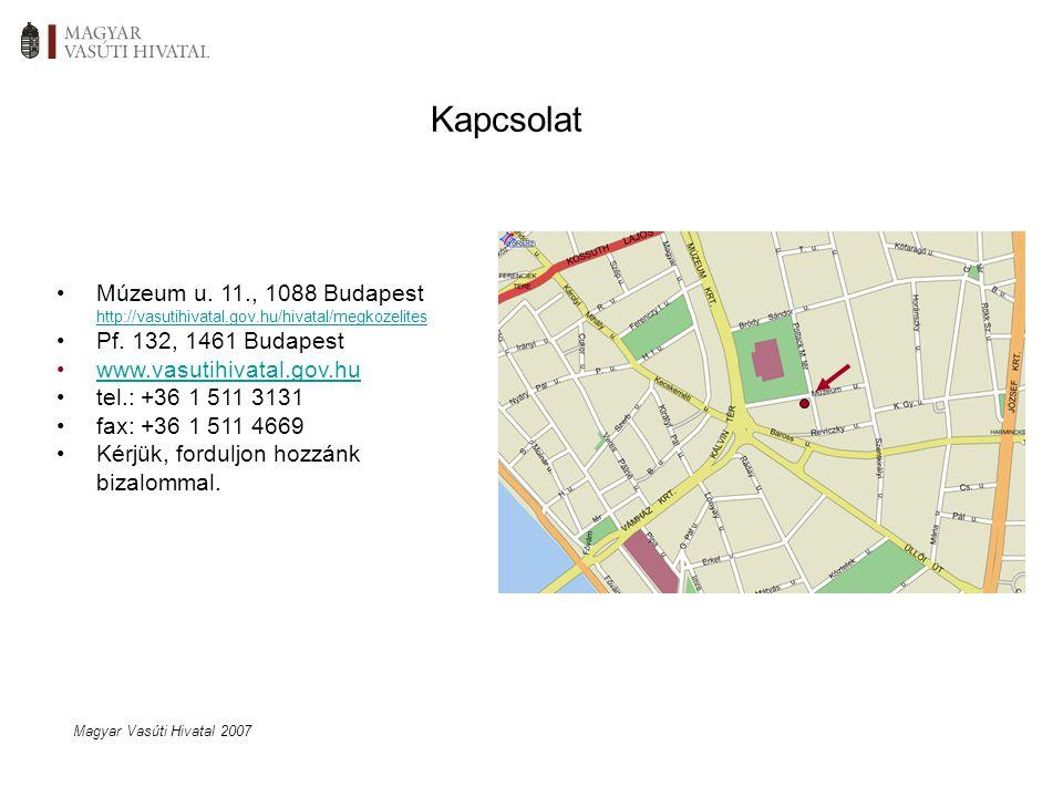 Kapcsolat Múzeum u. 11., 1088 Budapest http://vasutihivatal.gov.hu/hivatal/megkozelites Pf.