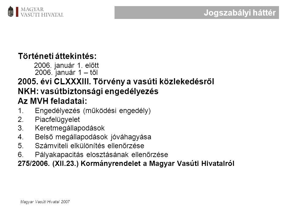 Magyar Vasúti Hivatal 2007 Történeti áttekintés: 2006.