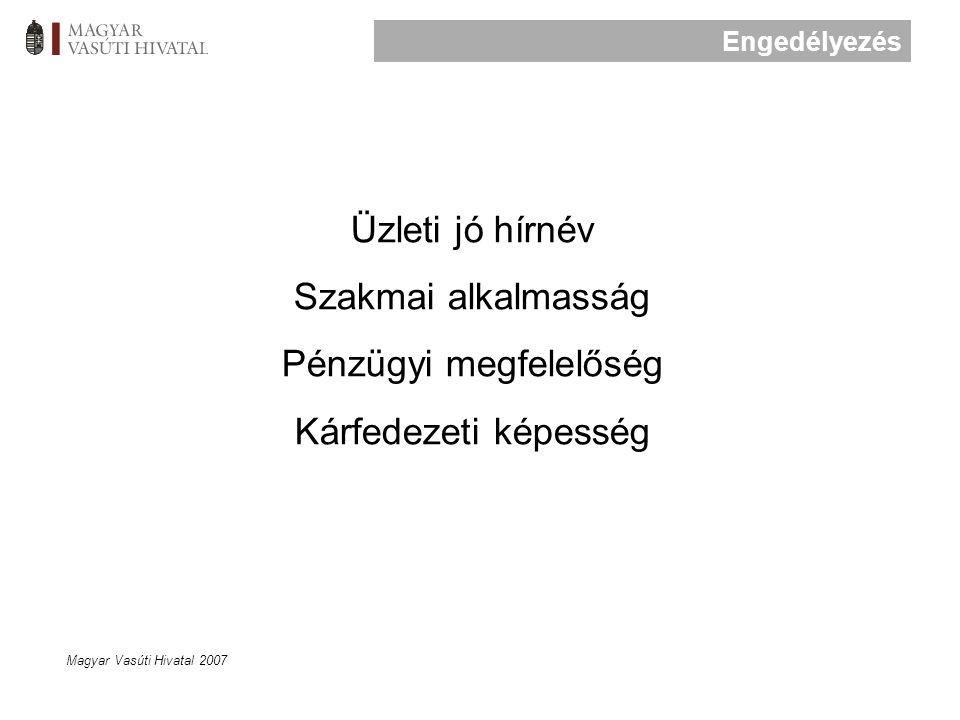 Magyar Vasúti Hivatal 2007 Üzleti jó hírnév Szakmai alkalmasság Pénzügyi megfelelőség Kárfedezeti képesség Engedélyezés