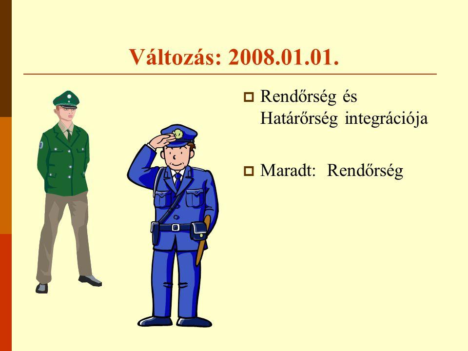 Változás: 2008.01.01.  Rendőrség és Határőrség integrációja  Maradt: Rendőrség