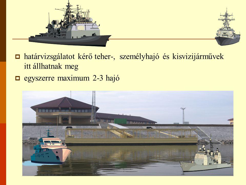  határvizsgálatot kérő teher-, személyhajó és kisvizijárművek itt állhatnak meg  egyszerre maximum 2-3 hajó