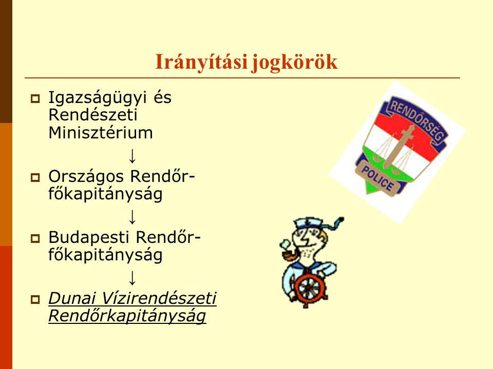 Irányítási jogkörök  Igazságügyi és Rendészeti Minisztérium ↓  Országos Rendőr- főkapitányság ↓  Budapesti Rendőr- főkapitányság ↓  Dunai Vízirendészeti Rendőrkapitányság