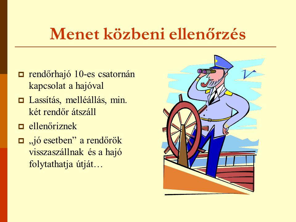 Menet közbeni ellenőrzés  rendőrhajó 10-es csatornán kapcsolat a hajóval  Lassítás, melléállás, min.