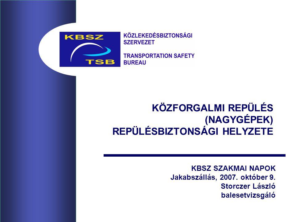 KÖZFORGALMI REPÜLÉS (NAGYGÉPEK) REPÜLÉSBIZTONSÁGI HELYZETE KBSZ SZAKMAI NAPOK Jakabszállás, 2007.
