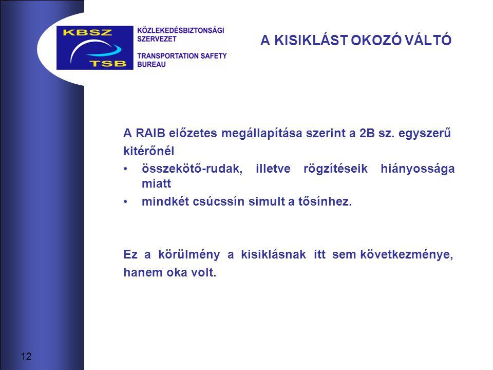 12 A KISIKLÁST OKOZÓ VÁLTÓ A RAIB előzetes megállapítása szerint a 2B sz.