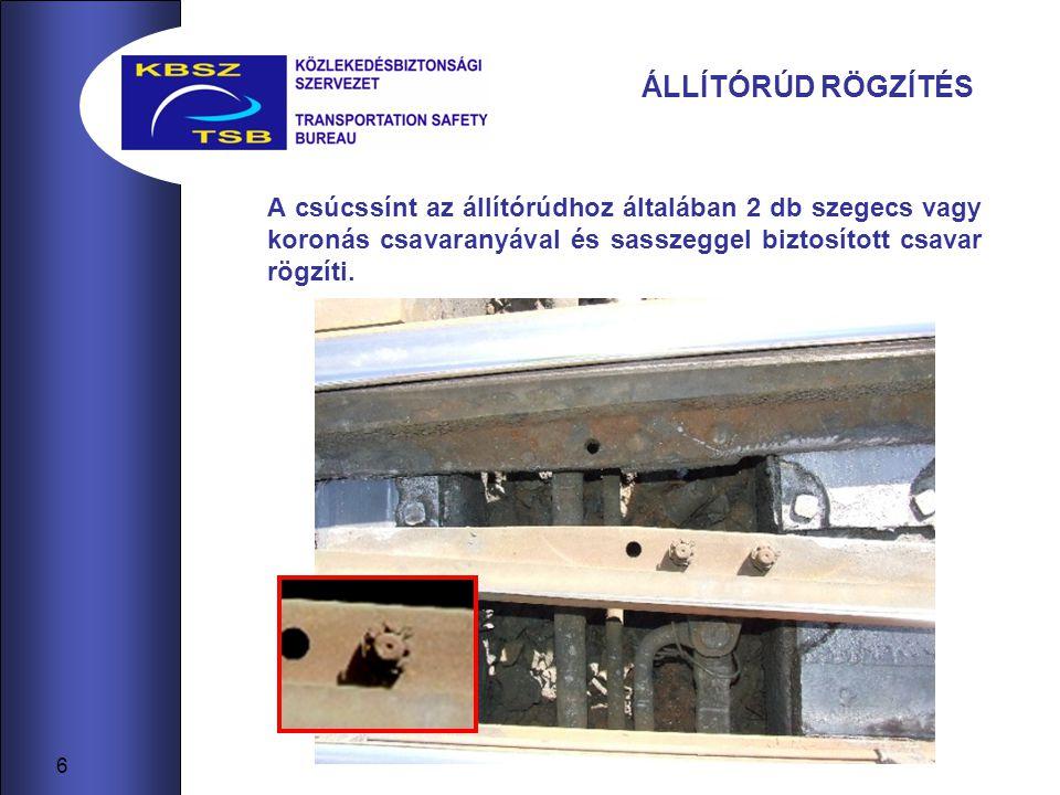 A KISIKLÁST OKOZÓ VÁLTÓ RÉSZLETEI A balesetet okozó helytelenül álló csúcssín esetében csavarokat alkalmaztak (bal kép), a koronás csavaranyák sasszeggel rögzítve nem voltak, a csavarok meglazultak, az egyik csavar a kisiklást megelőzően ki is esett.