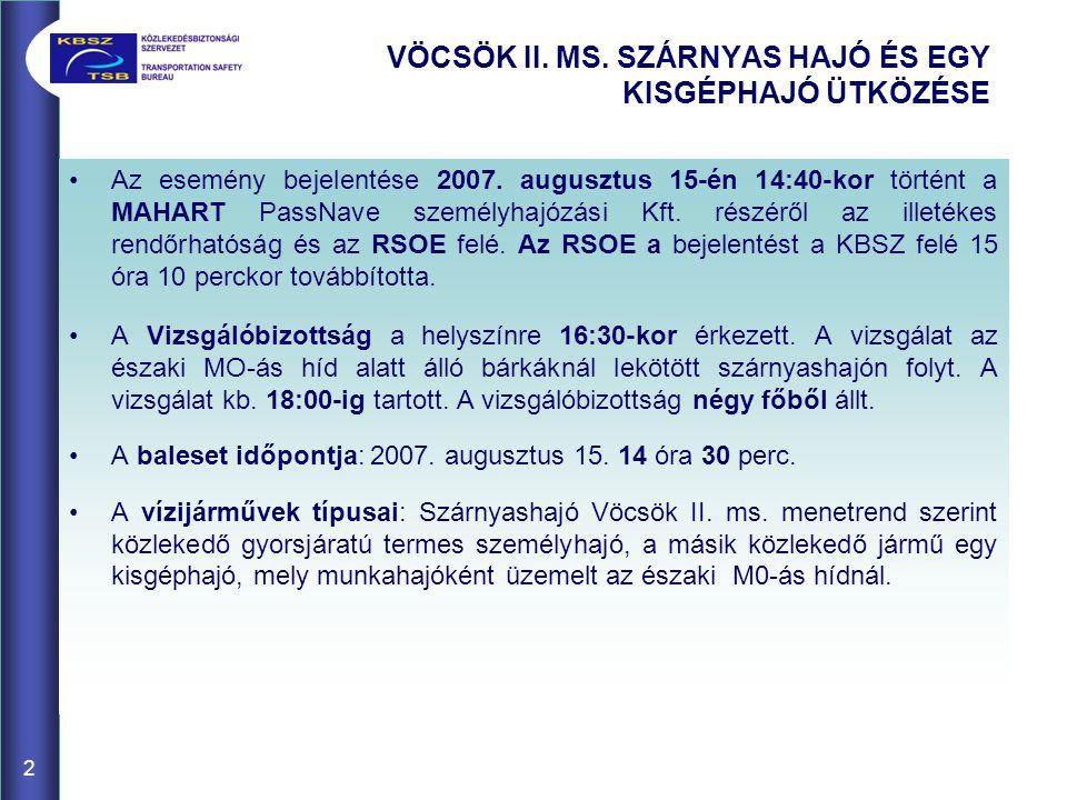 VÖCSÖK II. MS. SZÁRNYAS HAJÓ ÉS EGY KISGÉPHAJÓ ÜTKÖZÉSE 2 Az esemény bejelentése 2007. augusztus 15-én 14:40-kor történt a MAHART PassNave személyhajó