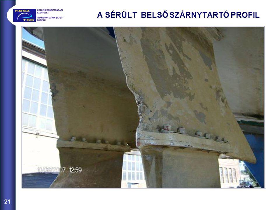 A SÉRÜLT BELSŐ SZÁRNYTARTÓ PROFIL 21