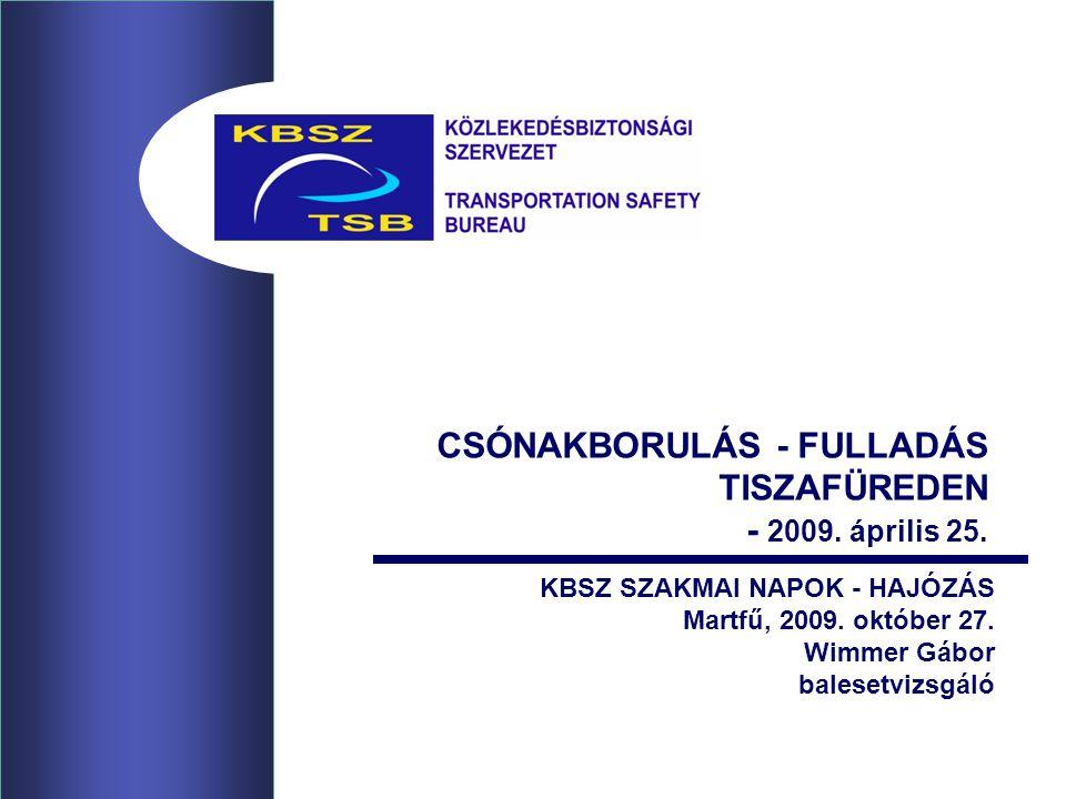 2 MOTOROS CSÓNAK FELBORULÁSA AZ ESEMÉNY LEÍRÁSA Az esemény bejelentése a KBSZ felé 2009.