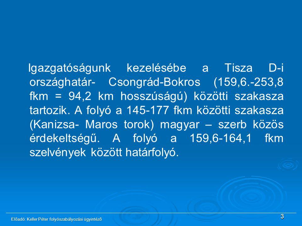 Igazgatóságunk kezelésébe a Tisza D-i országhatár- Csongrád-Bokros (159,6.-253,8 fkm = 94,2 km hosszúságú) közötti szakasza tartozik. A folyó a 145-17