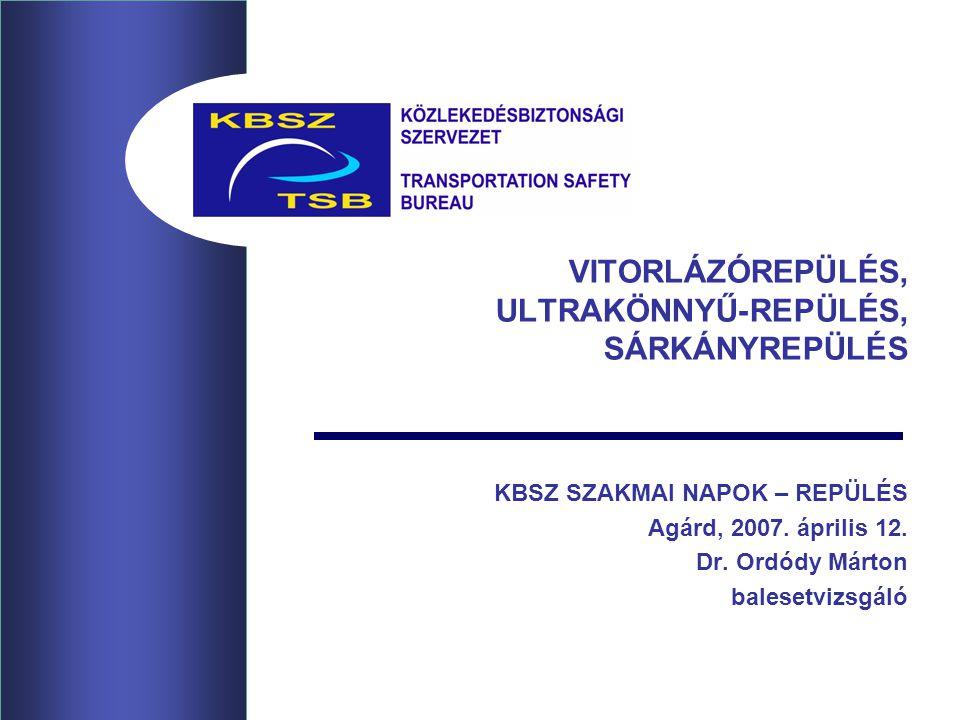 VITORLÁZÓREPÜLÉS, ULTRAKÖNNYŰ-REPÜLÉS, SÁRKÁNYREPÜLÉS KBSZ SZAKMAI NAPOK – REPÜLÉS Agárd, 2007. április 12. Dr. Ordódy Márton balesetvizsgáló