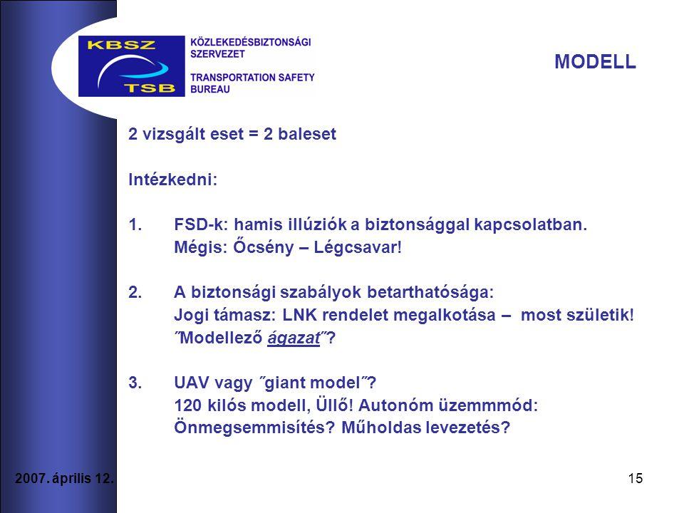 15 2007. április 12. 2 vizsgált eset = 2 baleset Intézkedni: 1.FSD-k: hamis illúziók a biztonsággal kapcsolatban. Mégis: Őcsény – Légcsavar! 2.A bizto