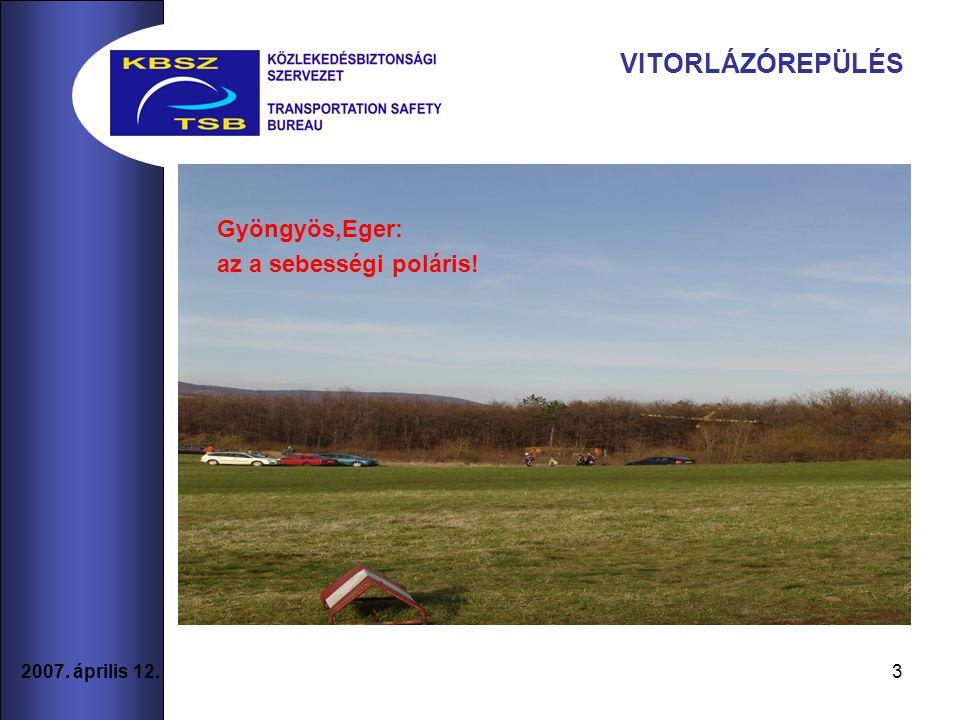 3 2007. április 12. VITORLÁZÓREPÜLÉS Gyöngyös,Eger: az a sebességi poláris!