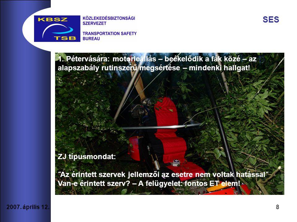 8 2007. április 12. SES 1. Pétervására: motorleállás – beékelődik a fák közé – az alapszabály rutinszerű megsértése – mindenki hallgat! ZJ típusmondat