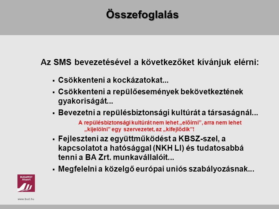 www.bud.hu Összefoglalás Az SMS bevezetésével a következőket kívánjuk elérni:  Csökkenteni a kockázatokat...  Csökkenteni a repülőesemények bekövetk