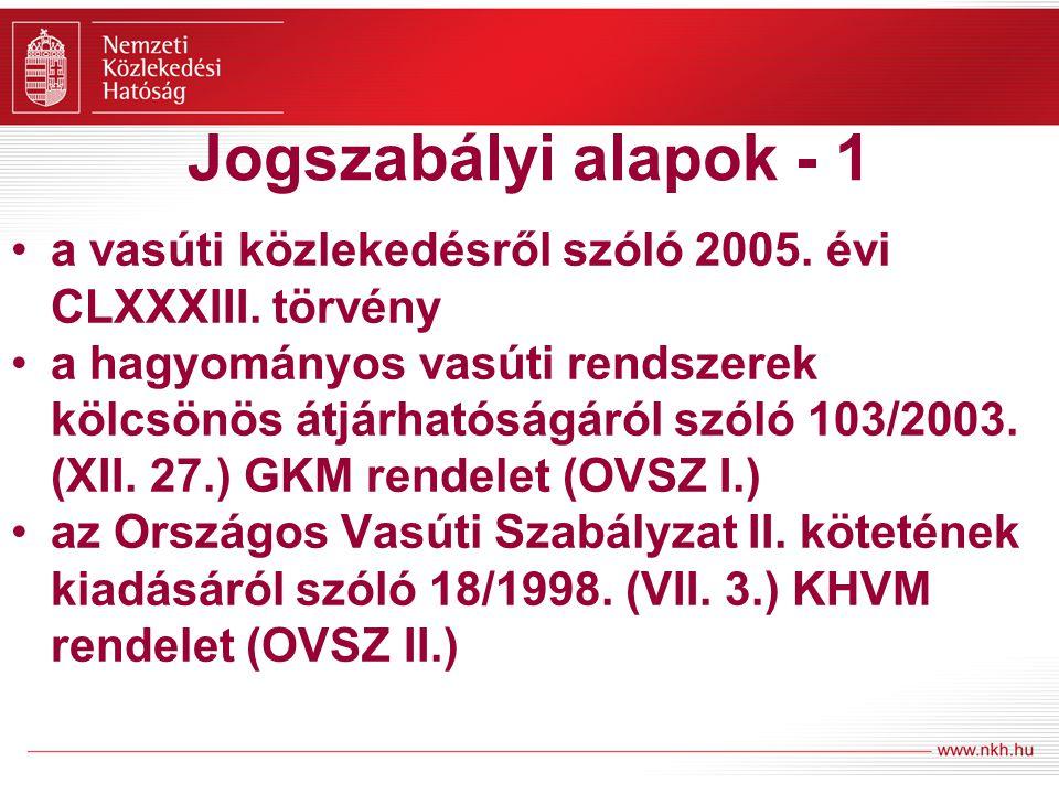 Jogszabályi alapok - 1 a vasúti közlekedésről szóló 2005.