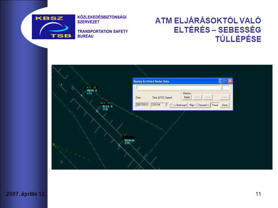 2007. április 12. 11 ATM ELJÁRÁSOKTÓL VALÓ ELTÉRÉS – SEBESSÉG TÚLLÉPÉSE