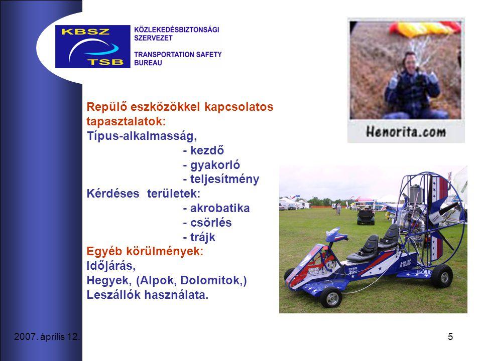 5 2007. április 12. Repülő eszközökkel kapcsolatos tapasztalatok: Típus-alkalmasság, - kezdő - gyakorló - teljesítmény Kérdéses területek: - akrobatik
