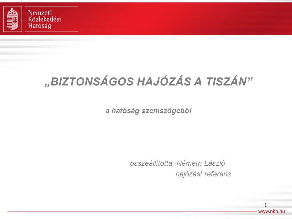 """1 """"BIZTONSÁGOS HAJÓZÁS A TISZÁN"""" a hatóság szemszögéből összeállította: Németh László hajózási referens"""