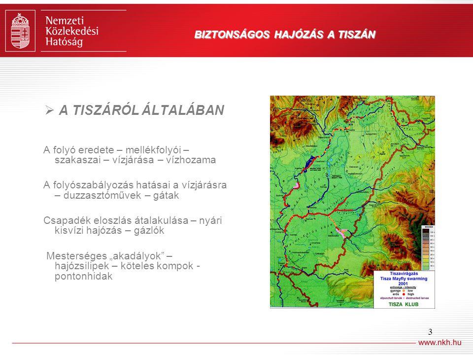 3 BIZTONSÁGOS HAJÓZÁS A TISZÁN  A TISZÁRÓL ÁLTALÁBAN A folyó eredete – mellékfolyói – szakaszai – vízjárása – vízhozama A folyószabályozás hatásai a