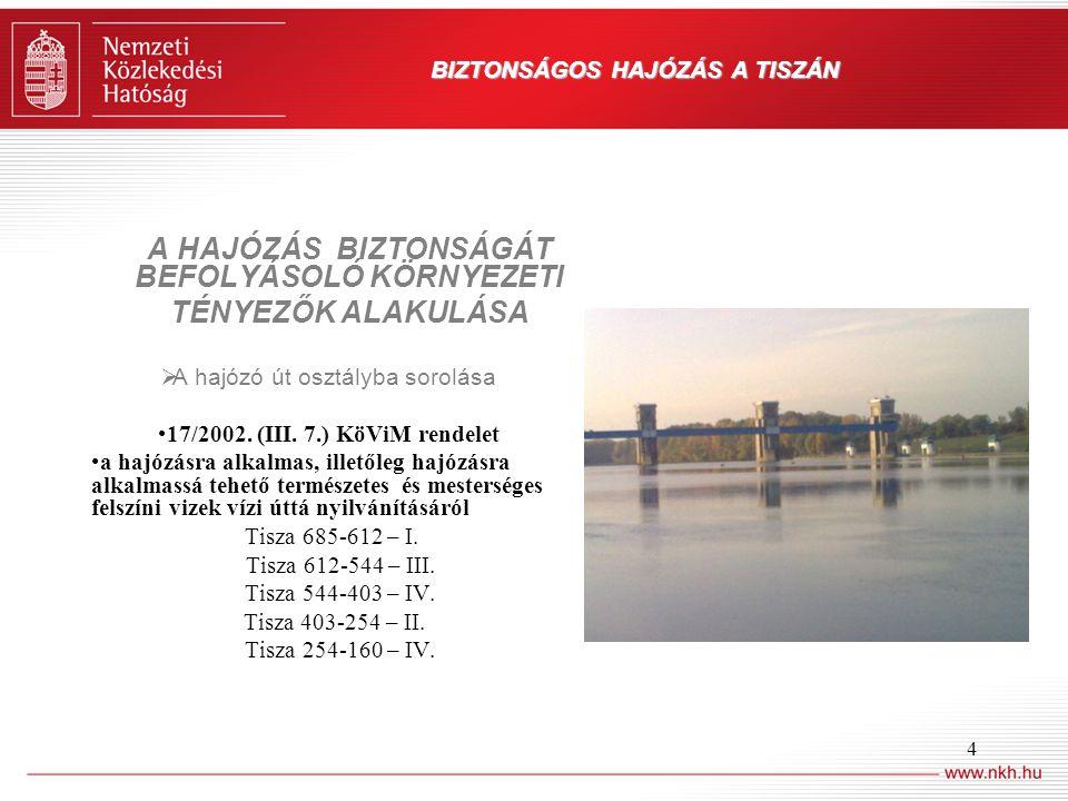 4 BIZTONSÁGOS HAJÓZÁS A TISZÁN A HAJÓZÁS BIZTONSÁGÁT BEFOLYÁSOLÓ KÖRNYEZETI TÉNYEZŐK ALAKULÁSA  A hajózó út osztályba sorolása 17/2002. (III. 7.) KöV