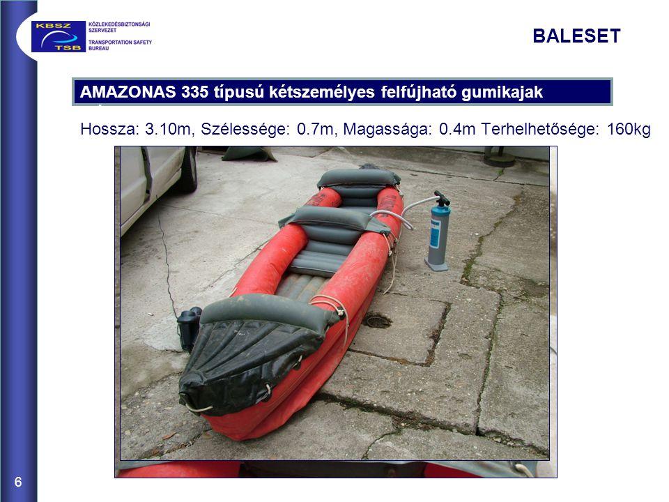 6 AMAZONAS 335 típusú kétszemélyes felfújható gumikajak méretei BALESET Hossza: 3.10m, Szélessége: 0.7m, Magassága: 0.4m Terhelhetősége: 160kg