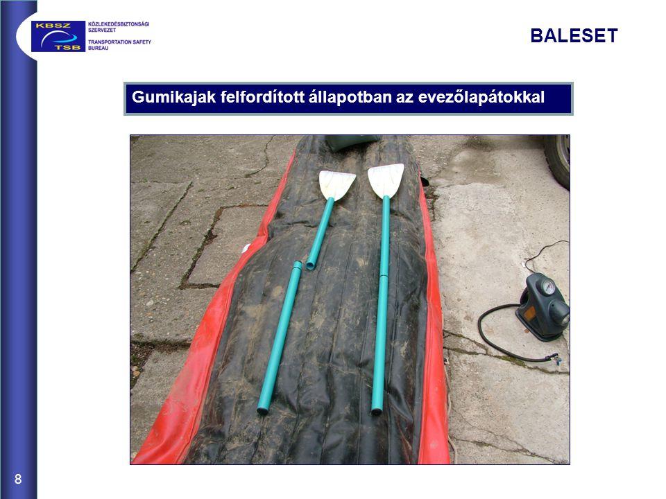 Gumikajak felfordított állapotban az evezőlapátokkal 8 BALESET