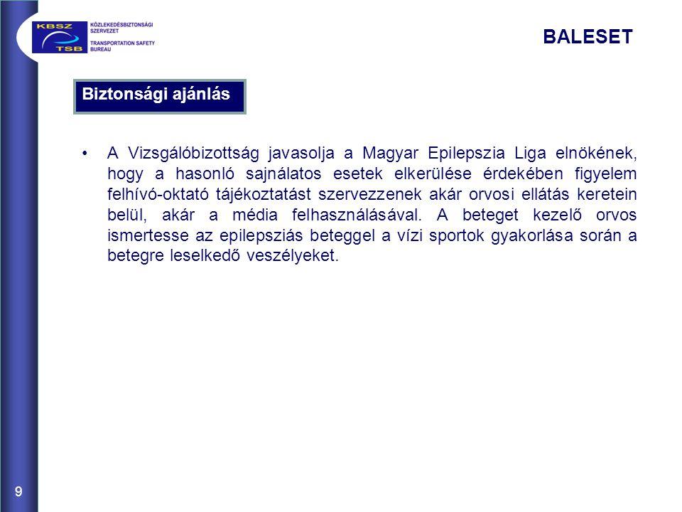 Biztonsági ajánlás A Vizsgálóbizottság javasolja a Magyar Epilepszia Liga elnökének, hogy a hasonló sajnálatos esetek elkerülése érdekében figyelem felhívó-oktató tájékoztatást szervezzenek akár orvosi ellátás keretein belül, akár a média felhasználásával.
