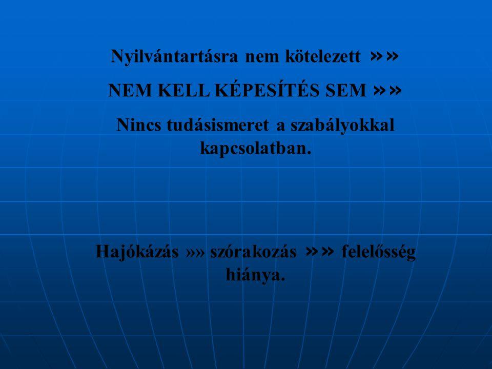 Nyilvántartásra nem kötelezett »» NEM KELL KÉPESÍTÉS SEM »» Nincs tudásismeret a szabályokkal kapcsolatban.