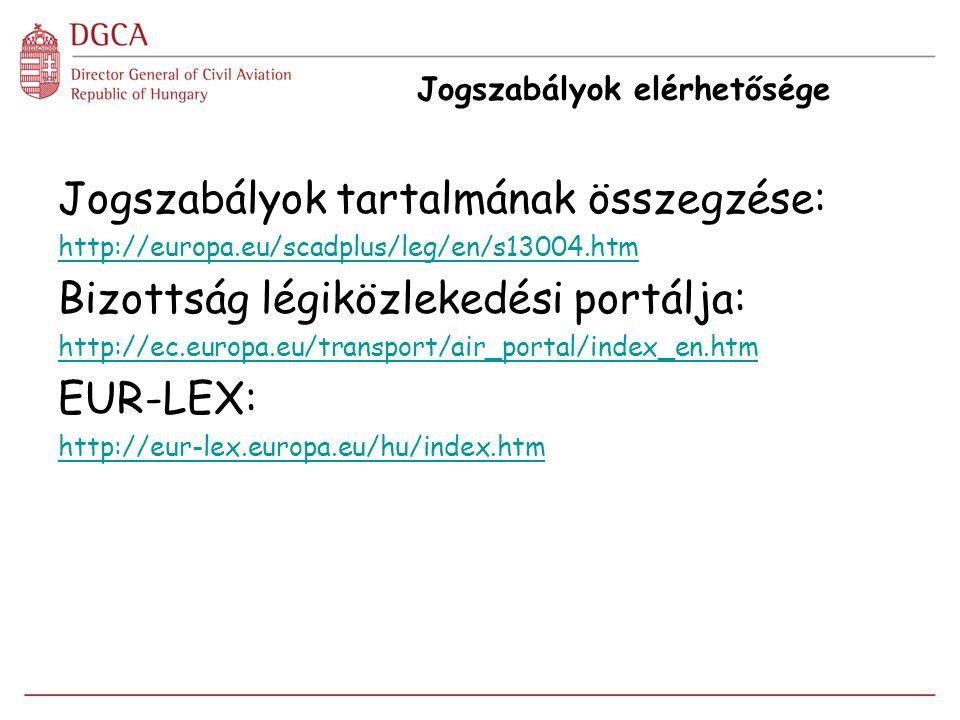 Jogszabályok elérhetősége Jogszabályok tartalmának összegzése: http://europa.eu/scadplus/leg/en/s13004.htm Bizottság légiközlekedési portálja: http://