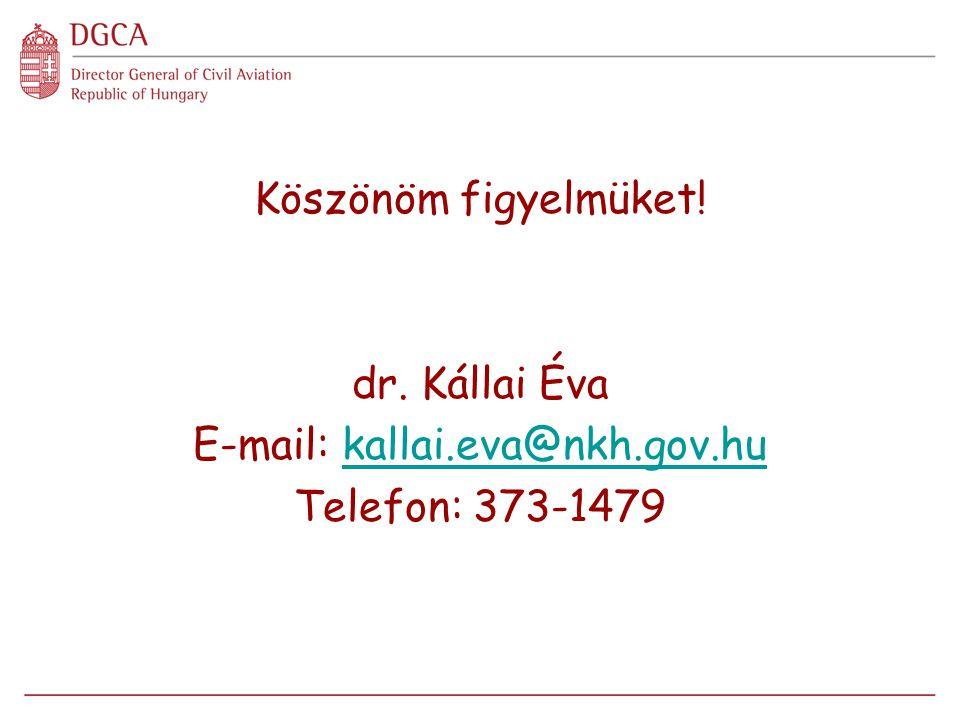 Köszönöm figyelmüket! dr. Kállai Éva E-mail: kallai.eva@nkh.gov.hukallai.eva@nkh.gov.hu Telefon: 373-1479