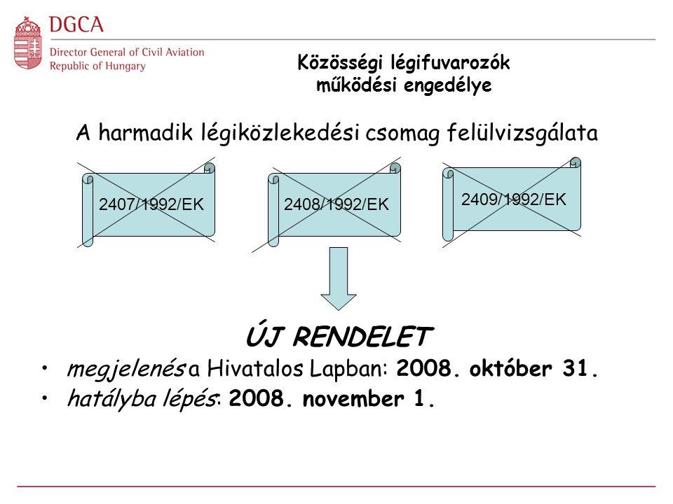 Közösségi légifuvarozók működési engedélye A harmadik légiközlekedési csomag felülvizsgálata ÚJ RENDELET megjelenés a Hivatalos Lapban: 2008. október