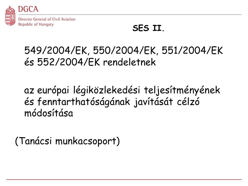 SES II. 549/2004/EK, 550/2004/EK, 551/2004/EK és 552/2004/EK rendeletnek az európai légiközlekedési teljesítményének és fenntarthatóságának javítását