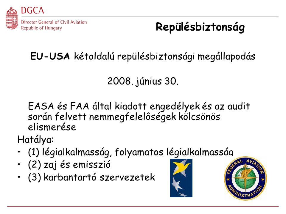 Repülésbiztonság EU-USA kétoldalú repülésbiztonsági megállapodás 2008. június 30. EASA és FAA által kiadott engedélyek és az audit során felvett nemme