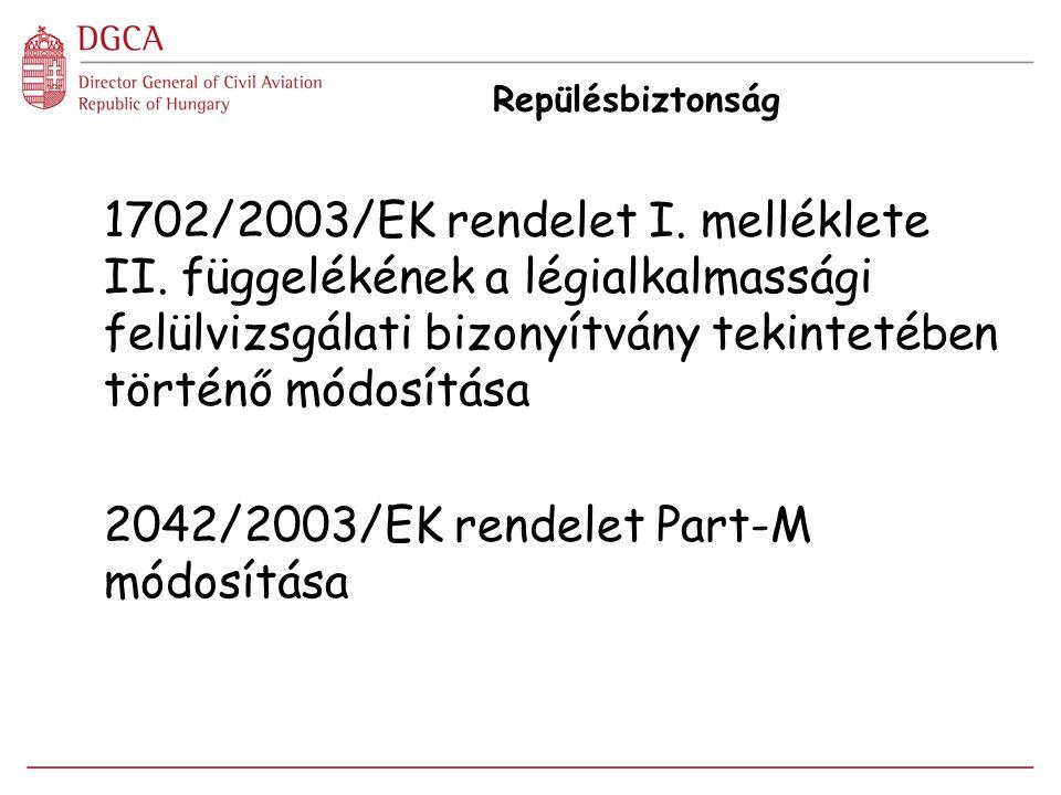 Repülésbiztonság 1702/2003/EK rendelet I. melléklete II. függelékének a légialkalmassági felülvizsgálati bizonyítvány tekintetében történő módosítása