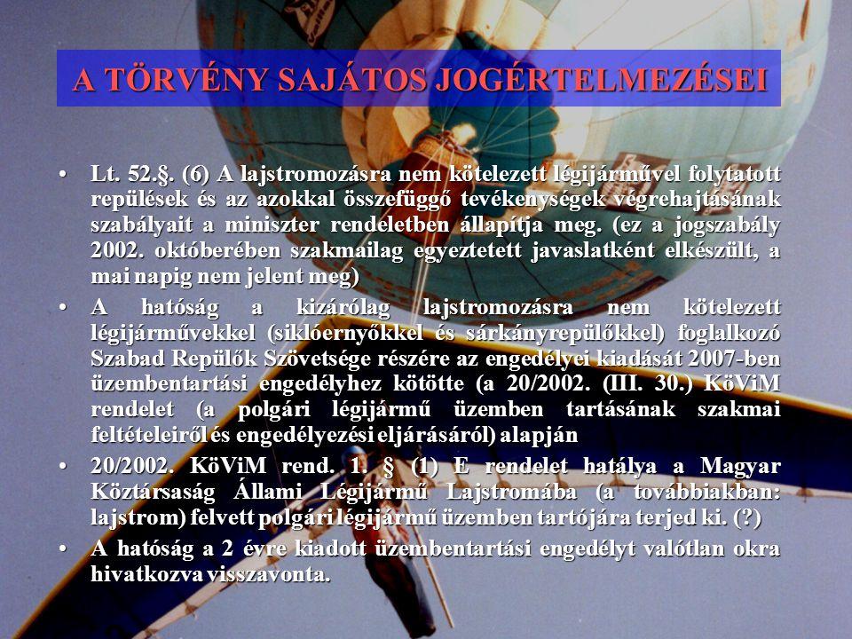 A TÖRVÉNY SAJÁTOS JOGÉRTELMEZÉSEI Lt. 52.§. (6) A lajstromozásra nem kötelezett légijárművel folytatott repülések és az azokkal összefüggő tevékenység